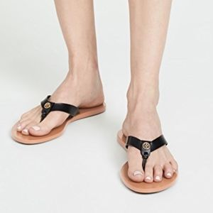 TORY BURCH Manon Black Flat Thong Sandals